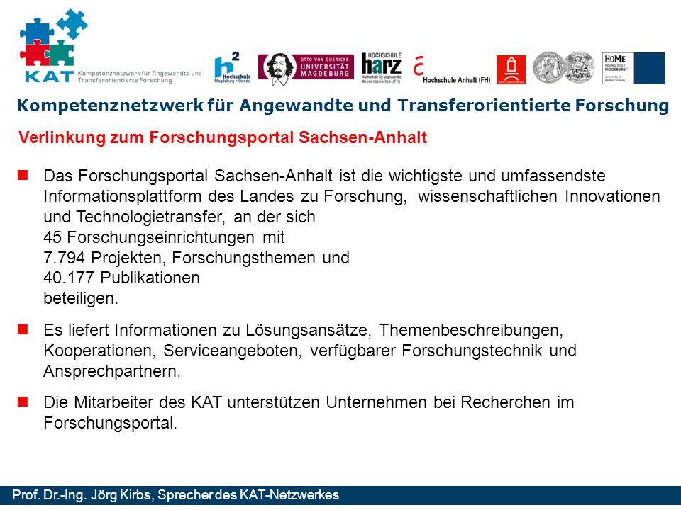 Kompetenznetzwerk für Angewandte und Transferorientierte Forschung Prof. Dr.-Ing. Jörg Kirbs, Sprecher des KAT-Netzwerkes Verlinkung zum Forschungspor