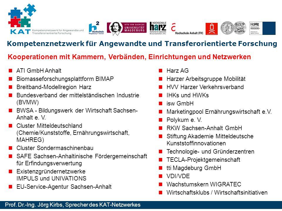 Kompetenznetzwerk für Angewandte und Transferorientierte Forschung Prof. Dr.-Ing. Jörg Kirbs, Sprecher des KAT-Netzwerkes Kooperationen mit Kammern, V
