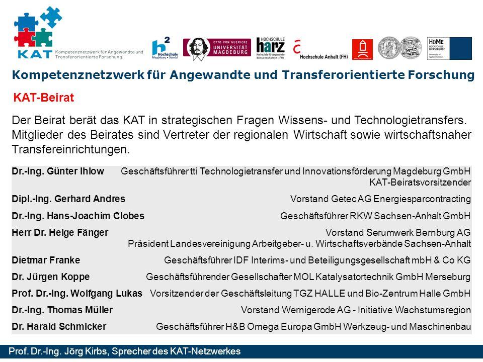 Kompetenznetzwerk für Angewandte und Transferorientierte Forschung Prof. Dr.-Ing. Jörg Kirbs, Sprecher des KAT-Netzwerkes KAT-Beirat Der Beirat berät