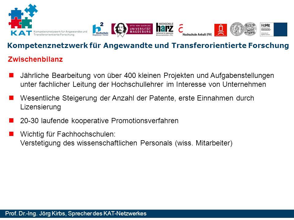 Kompetenznetzwerk für Angewandte und Transferorientierte Forschung Prof. Dr.-Ing. Jörg Kirbs, Sprecher des KAT-Netzwerkes Zwischenbilanz Jährliche Bea