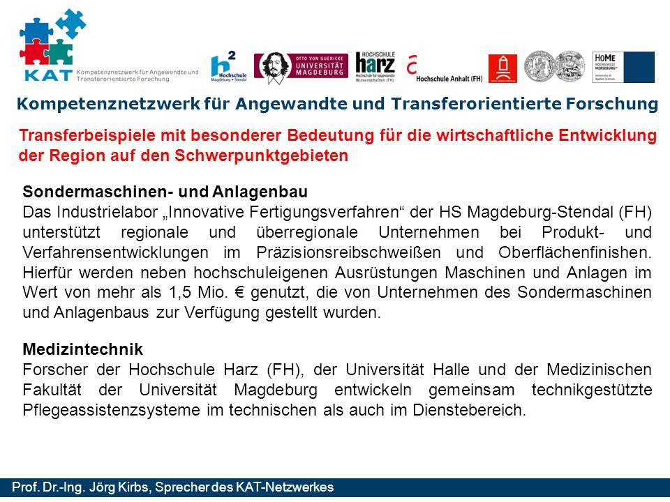 Kompetenznetzwerk für Angewandte und Transferorientierte Forschung Prof. Dr.-Ing. Jörg Kirbs, Sprecher des KAT-Netzwerkes Transferbeispiele mit besond