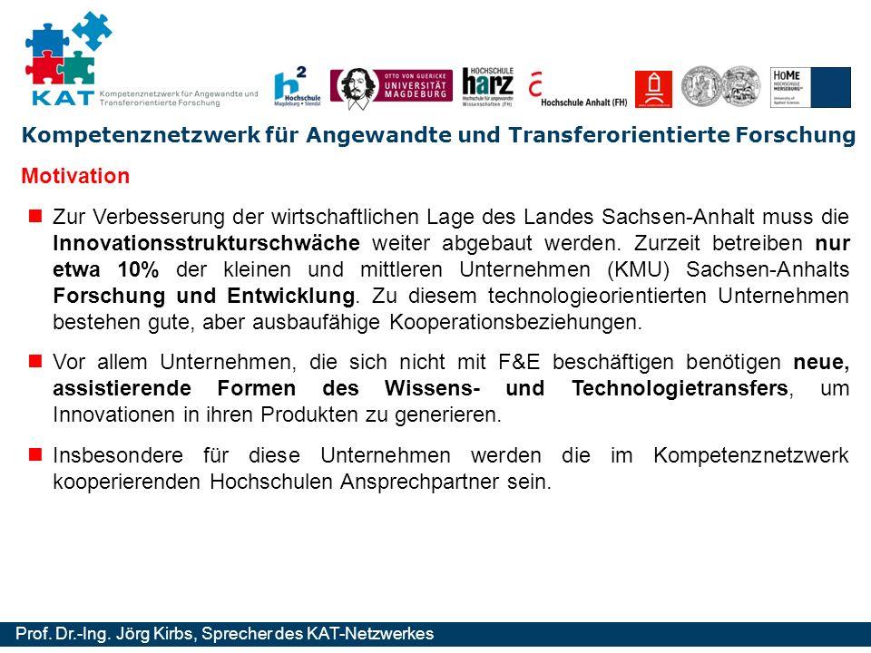 Kompetenznetzwerk für Angewandte und Transferorientierte Forschung Prof. Dr.-Ing. Jörg Kirbs, Sprecher des KAT-Netzwerkes Motivation Zur Verbesserung