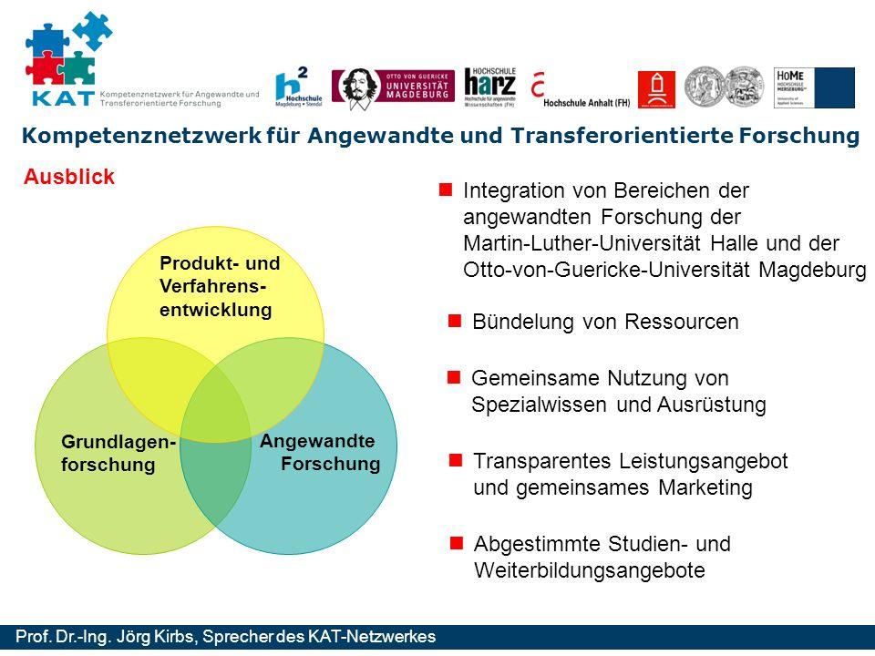Kompetenznetzwerk für Angewandte und Transferorientierte Forschung Prof. Dr.-Ing. Jörg Kirbs, Sprecher des KAT-Netzwerkes Grundlagen- forschung Angewa