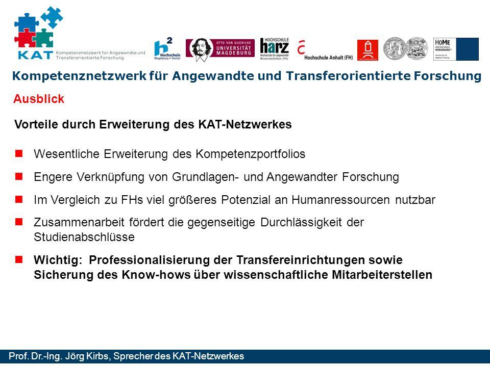 Kompetenznetzwerk für Angewandte und Transferorientierte Forschung Prof. Dr.-Ing. Jörg Kirbs, Sprecher des KAT-Netzwerkes Vorteile durch Erweiterung d