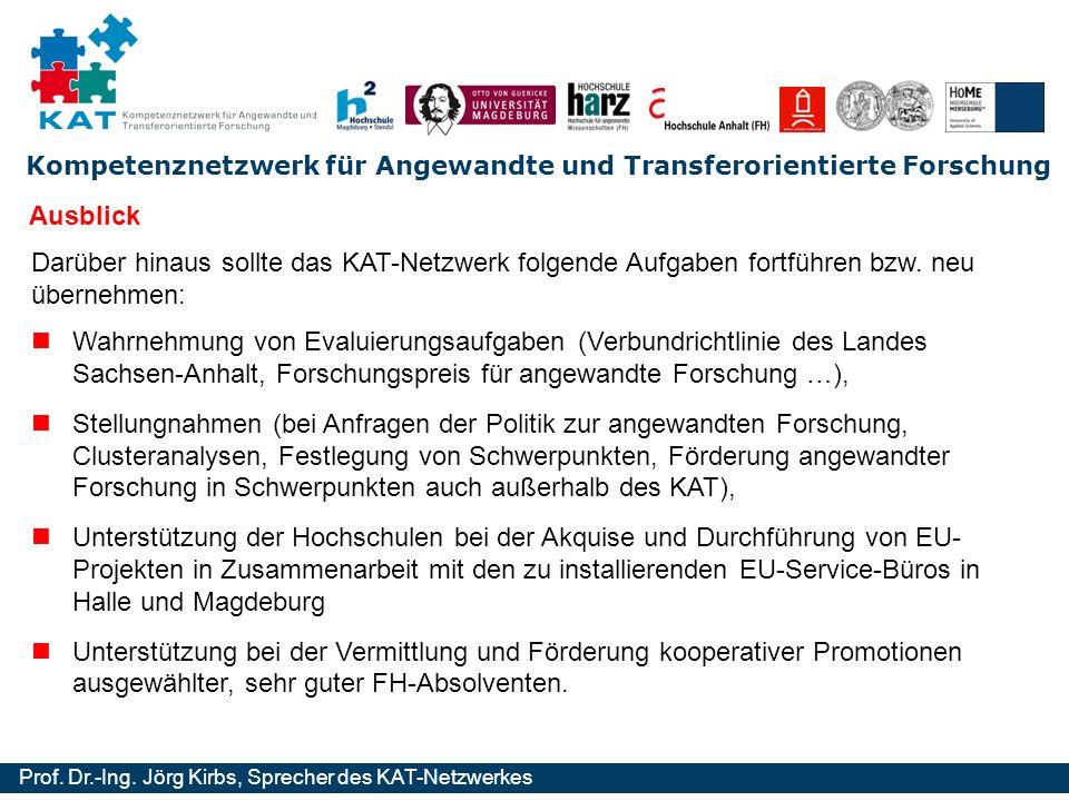 Kompetenznetzwerk für Angewandte und Transferorientierte Forschung Prof. Dr.-Ing. Jörg Kirbs, Sprecher des KAT-Netzwerkes Wahrnehmung von Evaluierungs