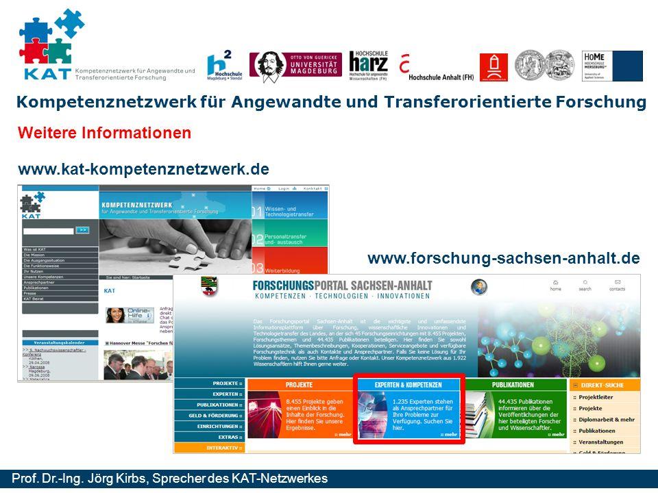 Kompetenznetzwerk für Angewandte und Transferorientierte Forschung Prof. Dr.-Ing. Jörg Kirbs, Sprecher des KAT-Netzwerkes www.kat-kompetenznetzwerk.de