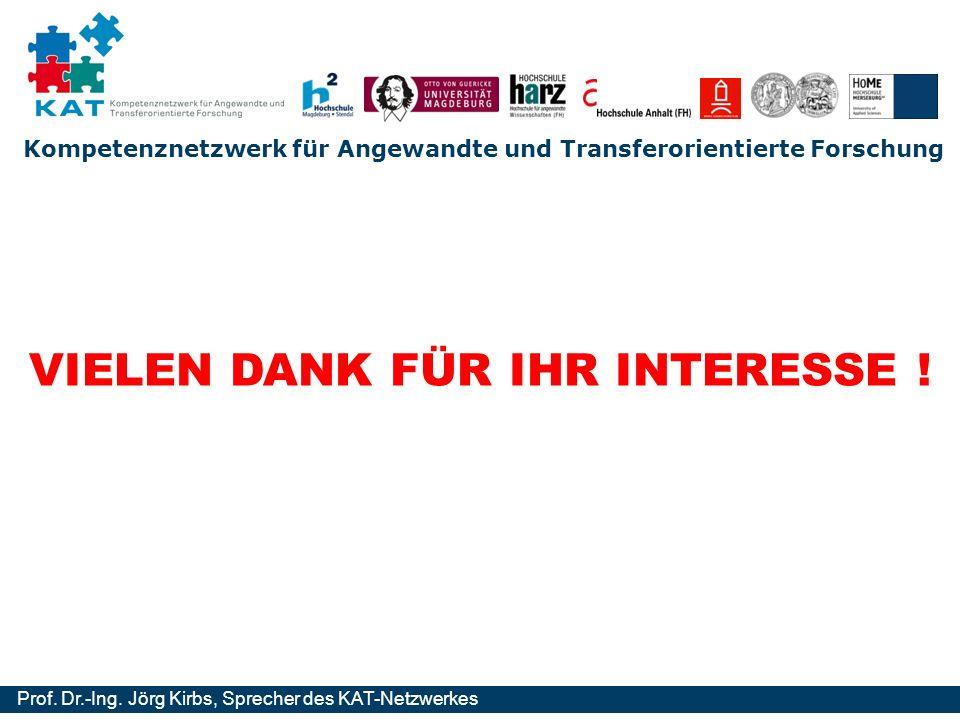 Kompetenznetzwerk für Angewandte und Transferorientierte Forschung Prof. Dr.-Ing. Jörg Kirbs, Sprecher des KAT-Netzwerkes VIELEN DANK FÜR IHR INTERESS