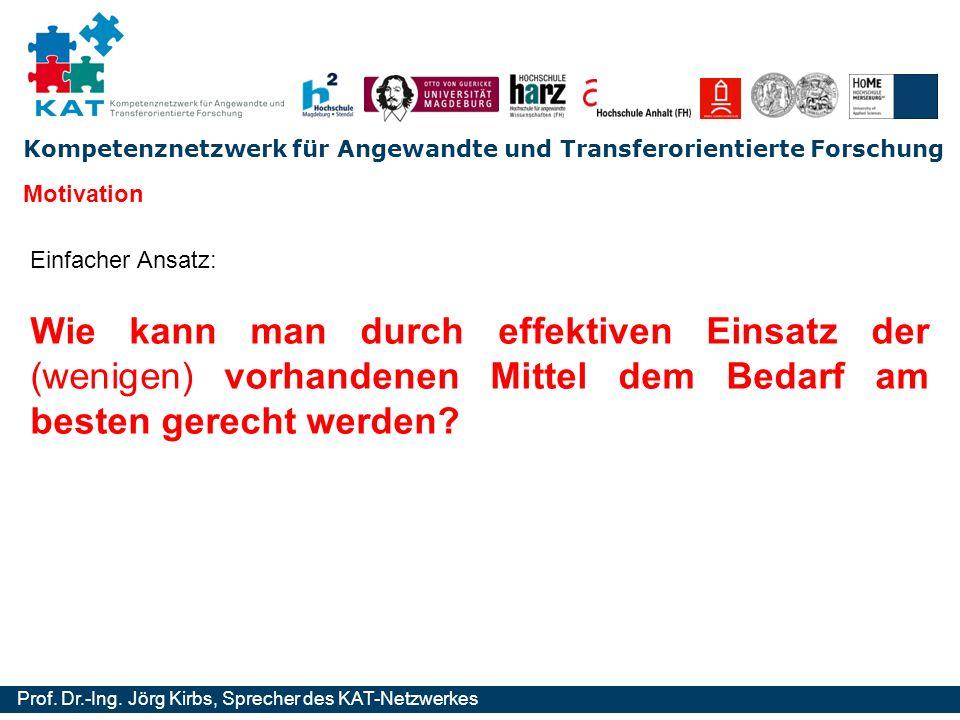 Kompetenznetzwerk für Angewandte und Transferorientierte Forschung Prof. Dr.-Ing. Jörg Kirbs, Sprecher des KAT-Netzwerkes Einfacher Ansatz: Motivation