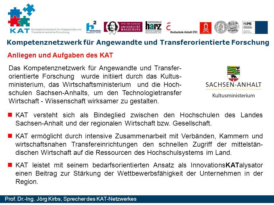 Kompetenznetzwerk für Angewandte und Transferorientierte Forschung Prof. Dr.-Ing. Jörg Kirbs, Sprecher des KAT-Netzwerkes Anliegen und Aufgaben des KA