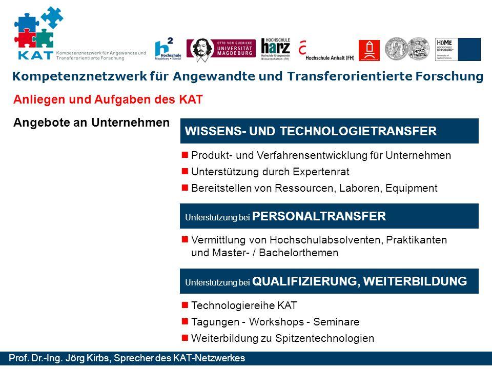 Kompetenznetzwerk für Angewandte und Transferorientierte Forschung Prof. Dr.-Ing. Jörg Kirbs, Sprecher des KAT-Netzwerkes Unterstützung bei PERSONALTR