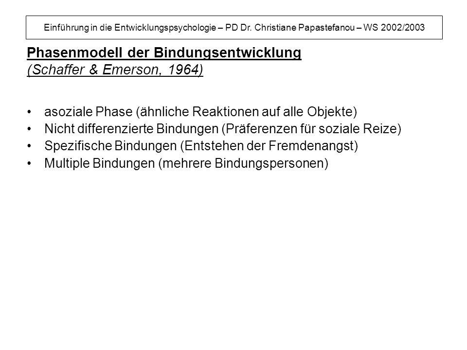 Einführung in die Entwicklungspsychologie – PD Dr. Christiane Papastefanou – WS 2002/2003 Phasenmodell der Bindungsentwicklung (Schaffer & Emerson, 19
