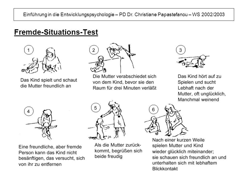 Einführung in die Entwicklungspsychologie – PD Dr. Christiane Papastefanou – WS 2002/2003 Fremde-Situations-Test