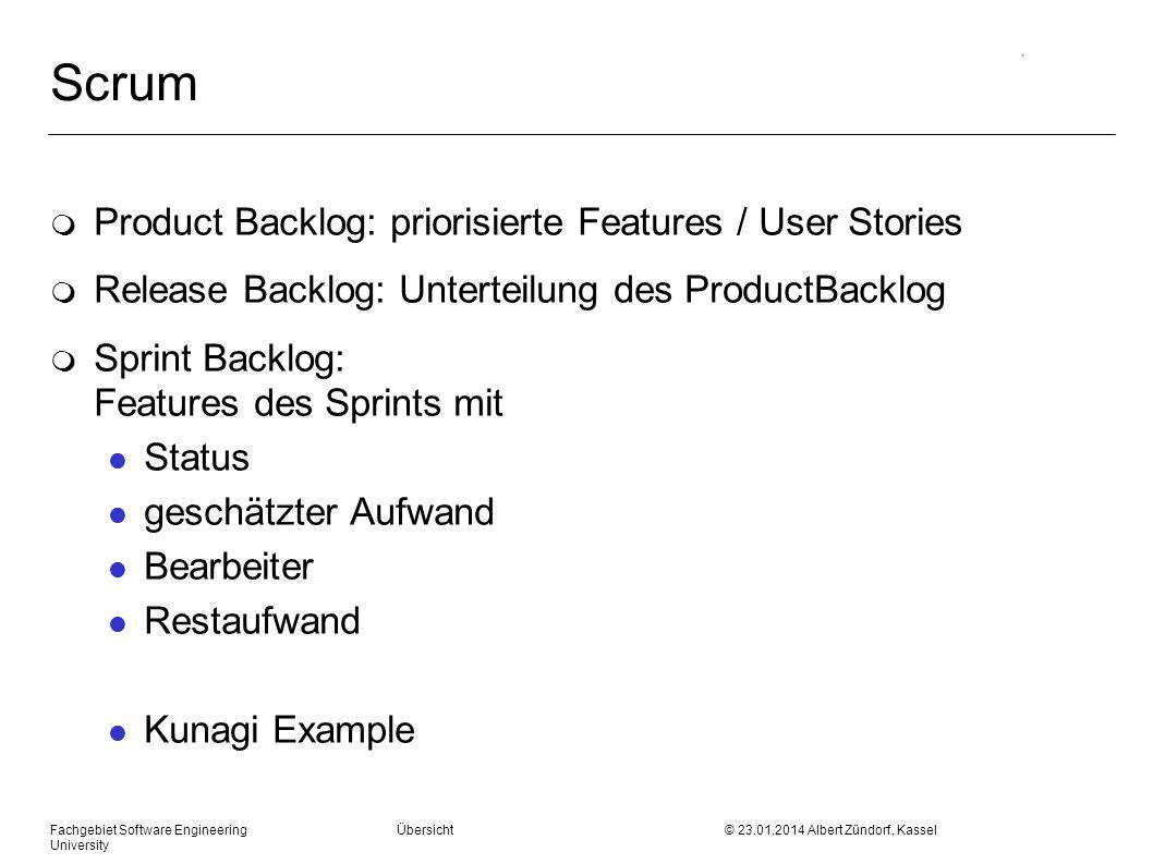 Fachgebiet Software Engineering Übersicht © 23.01.2014 Albert Zündorf, Kassel University Scrum m Product Backlog: priorisierte Features / User Stories