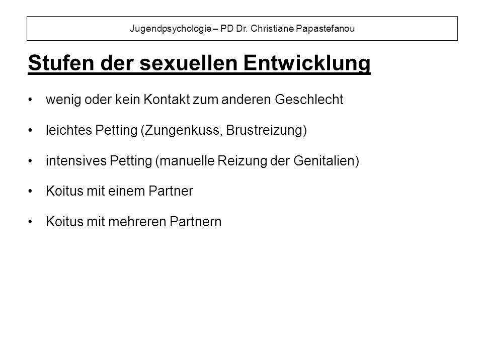 Jugendpsychologie – PD Dr. Christiane Papastefanou Stufen der sexuellen Entwicklung wenig oder kein Kontakt zum anderen Geschlecht leichtes Petting (Z