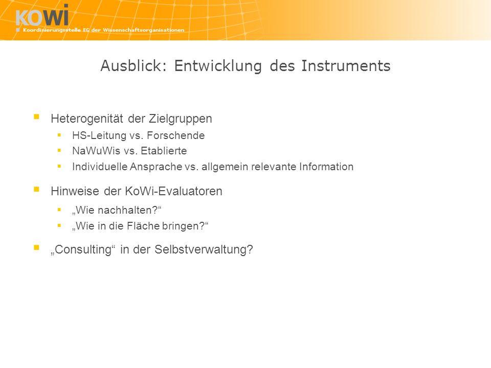 Ausblick: Entwicklung des Instruments Heterogenität der Zielgruppen HS-Leitung vs. Forschende NaWuWis vs. Etablierte Individuelle Ansprache vs. allgem