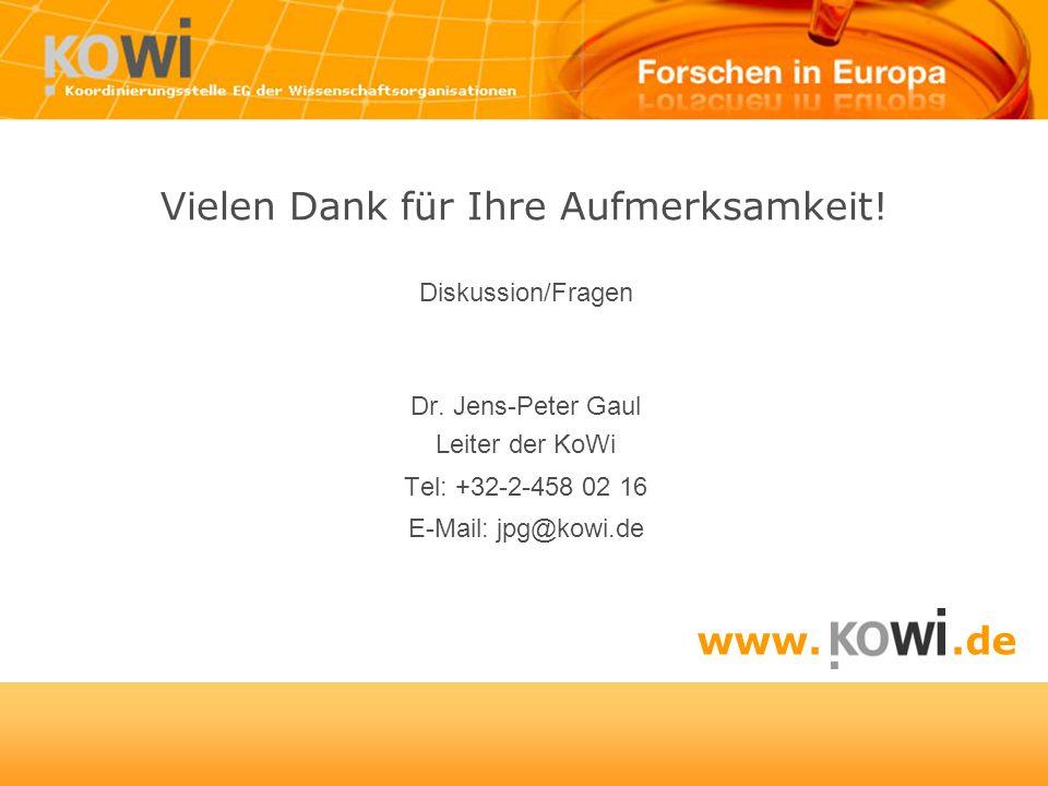 Vielen Dank für Ihre Aufmerksamkeit! Diskussion/Fragen Dr. Jens-Peter Gaul Leiter der KoWi Tel: +32-2-458 02 16 E-Mail: jpg@kowi.de www..de