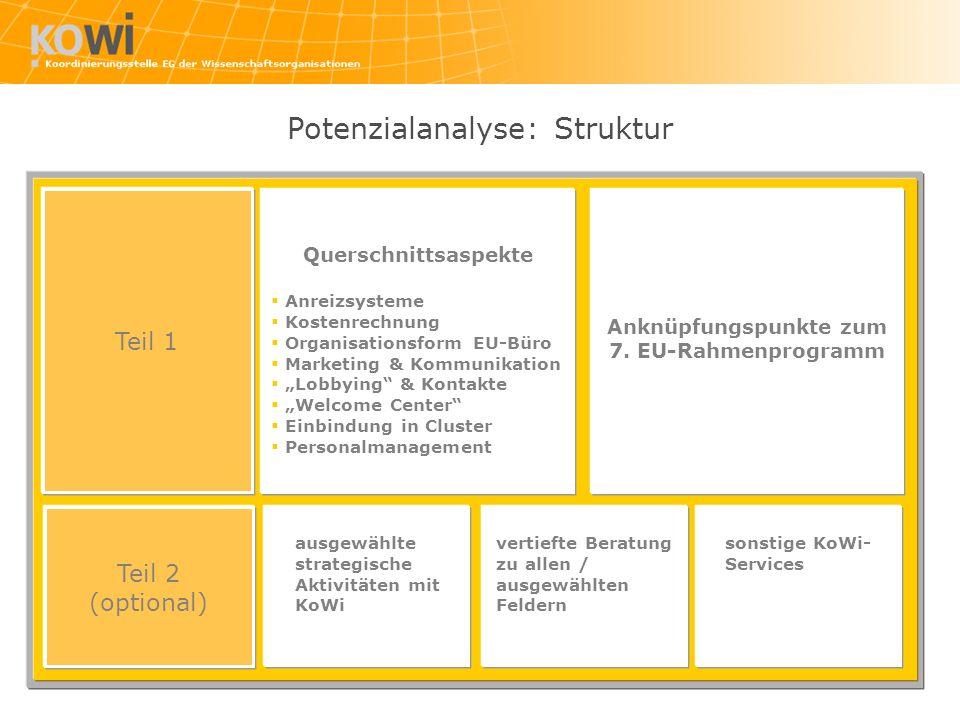 Potenzialanalyse: Struktur Teil 1 Querschnittsaspekte Anreizsysteme Kostenrechnung Organisationsform EU-Büro Marketing & Kommunikation Lobbying & Kontakte Welcome Center Einbindung in Cluster Personalmanagement Teil 2 (optional) Anknüpfungspunkte zum 7.