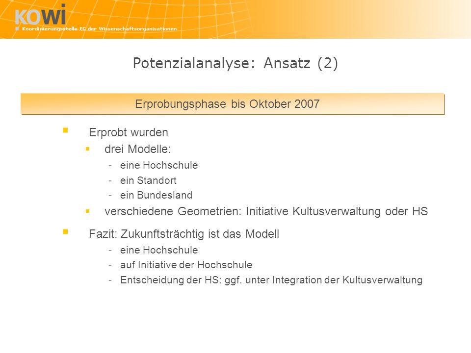 Erprobungsphase bis Oktober 2007 Erprobt wurden drei Modelle: -eine Hochschule -ein Standort -ein Bundesland verschiedene Geometrien: Initiative Kultu