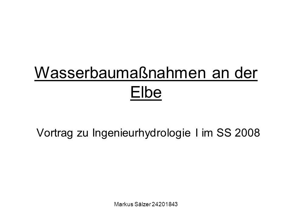 Markus Sälzer 24201843 Wasserbaumaßnahmen an der Elbe Vortrag zu Ingenieurhydrologie I im SS 2008