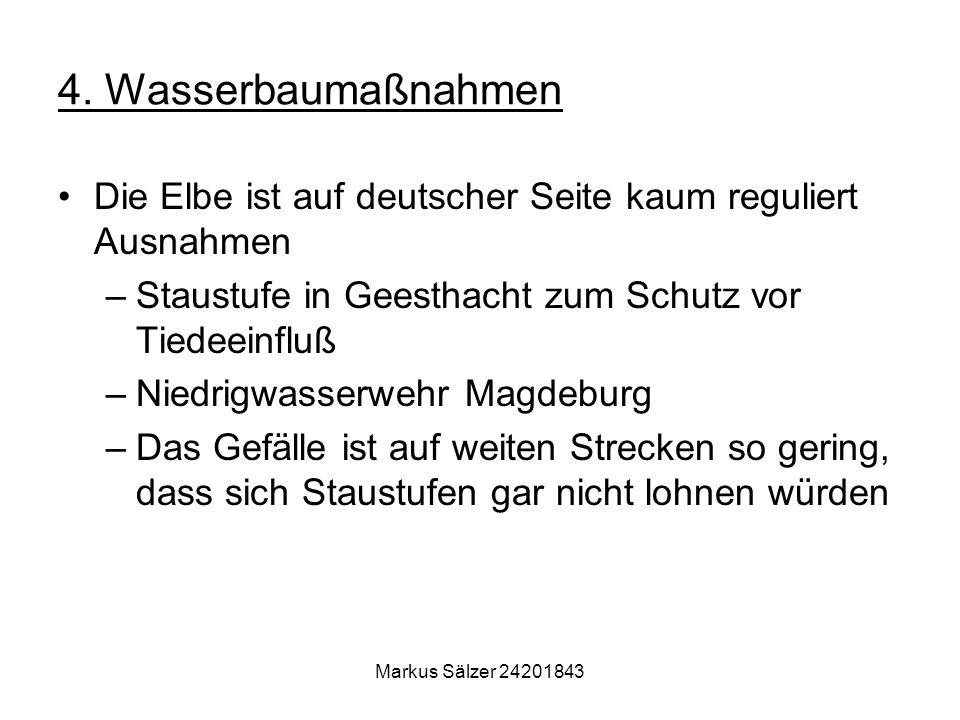 Markus Sälzer 24201843 4. Wasserbaumaßnahmen Die Elbe ist auf deutscher Seite kaum reguliert Ausnahmen –Staustufe in Geesthacht zum Schutz vor Tiedeei
