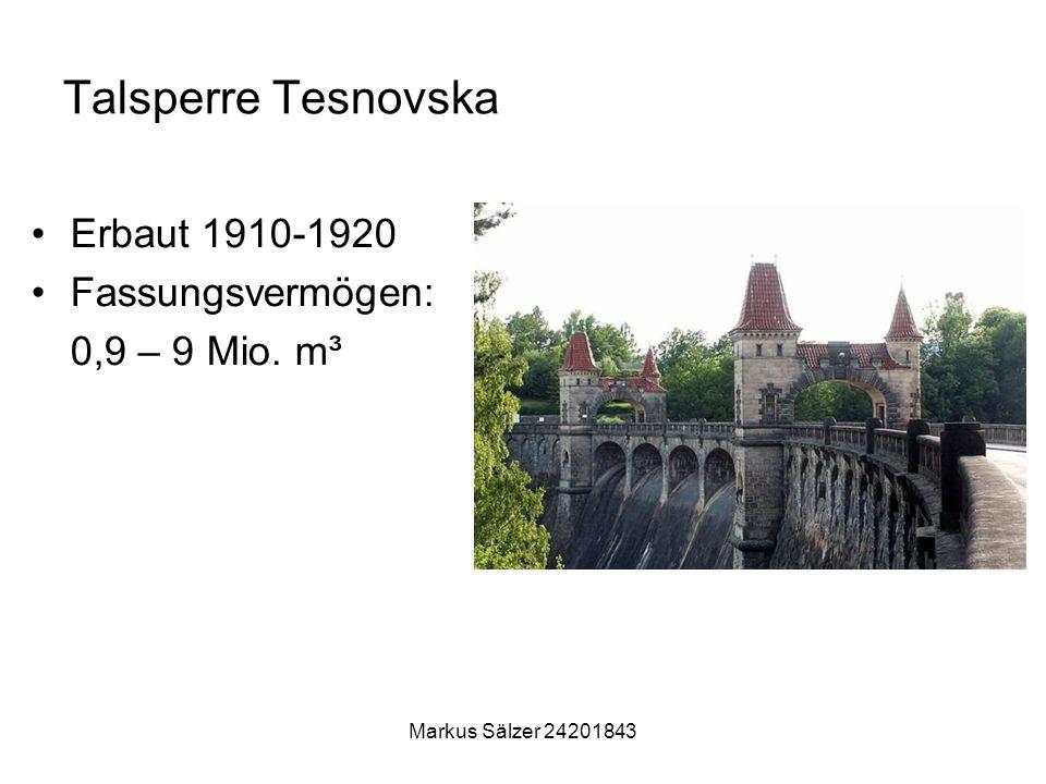 Markus Sälzer 24201843 Talsperre Tesnovska Erbaut 1910-1920 Fassungsvermögen: 0,9 – 9 Mio. m³