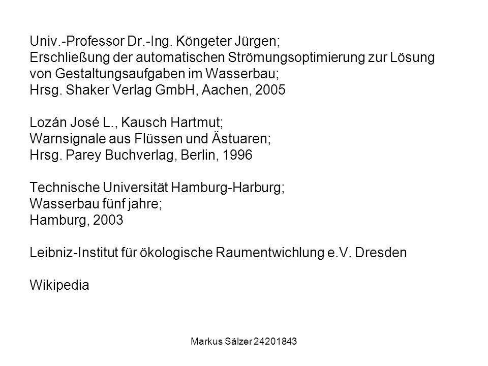 Markus Sälzer 24201843 Univ.-Professor Dr.-Ing. Köngeter Jürgen; Erschließung der automatischen Strömungsoptimierung zur Lösung von Gestaltungsaufgabe