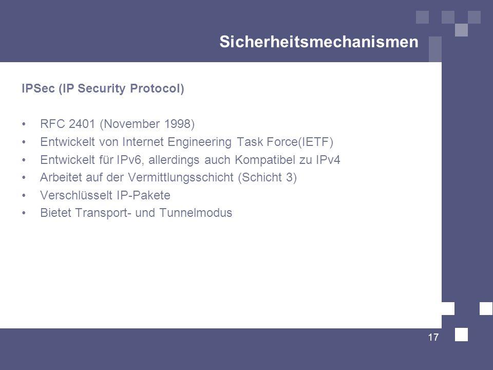 Sicherheitsmechanismen IPSec (IP Security Protocol) RFC 2401 (November 1998) Entwickelt von Internet Engineering Task Force(IETF) Entwickelt für IPv6,