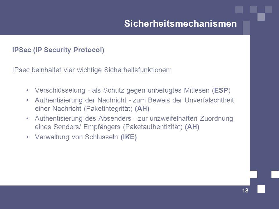 Sicherheitsmechanismen IPSec (IP Security Protocol) IPsec beinhaltet vier wichtige Sicherheitsfunktionen: Verschlüsselung - als Schutz gegen unbefugte