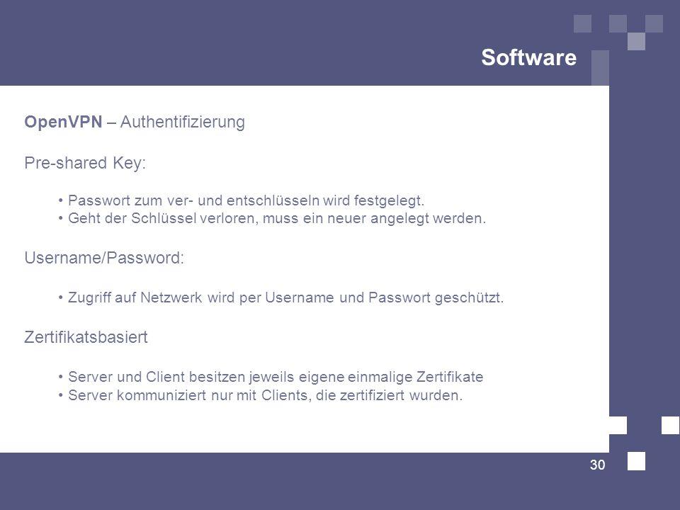Software 30 OpenVPN – Authentifizierung Pre-shared Key: Passwort zum ver- und entschlüsseln wird festgelegt. Geht der Schlüssel verloren, muss ein neu