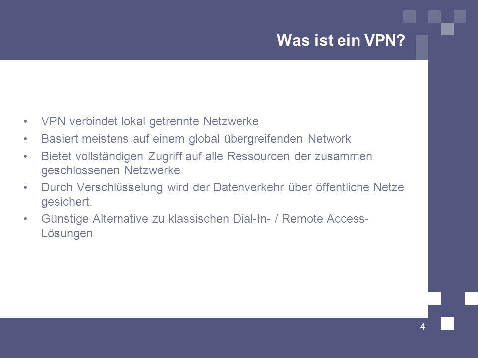 Was ist ein VPN? VPN verbindet lokal getrennte Netzwerke Basiert meistens auf einem global übergreifenden Network Bietet vollständigen Zugriff auf all