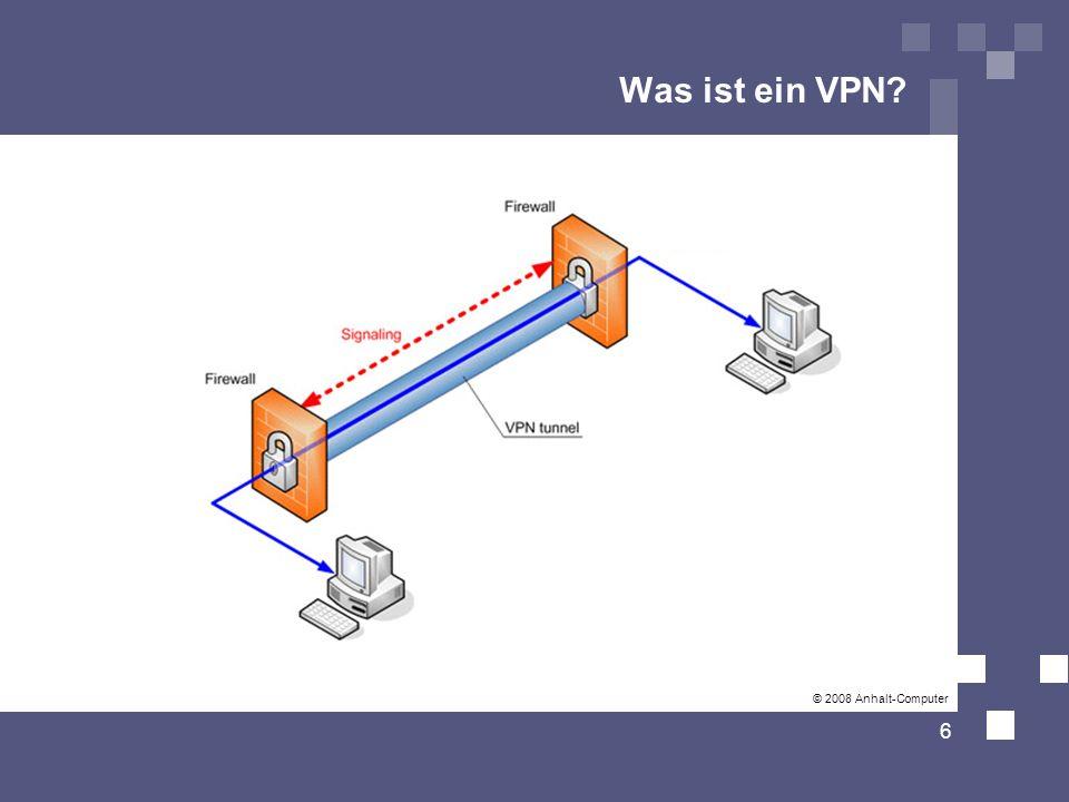 Funktionsweise VPN-Verbindungen bestehen aus drei Phasen: 7 Authentifizierung Client baut Verbindung zum VPN-Server auf User meldet sich mit seinem Passwort an User wird authentifiziert