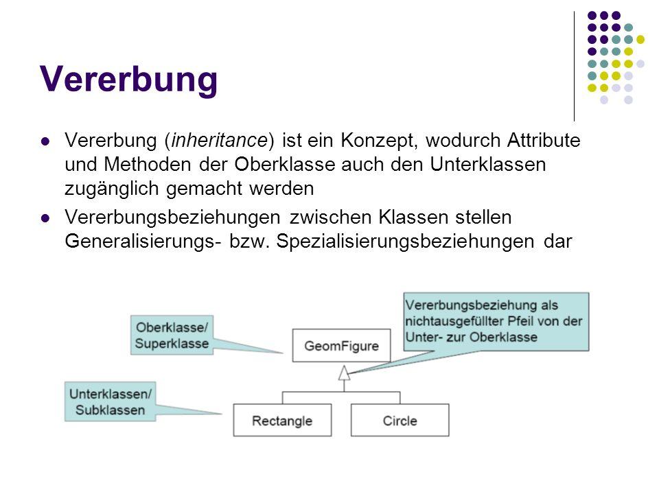 Vererbung Vererbung (inheritance) ist ein Konzept, wodurch Attribute und Methoden der Oberklasse auch den Unterklassen zugänglich gemacht werden Verer
