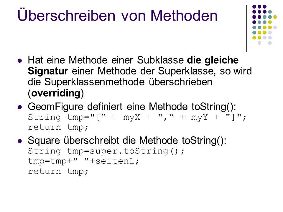 Überschreiben von Methoden Hat eine Methode einer Subklasse die gleiche Signatur einer Methode der Superklasse, so wird die Superklassenmethode übersc