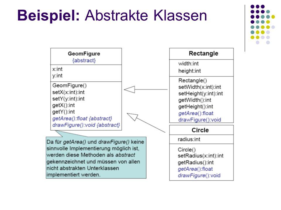 Beispiel: Abstrakte Klassen