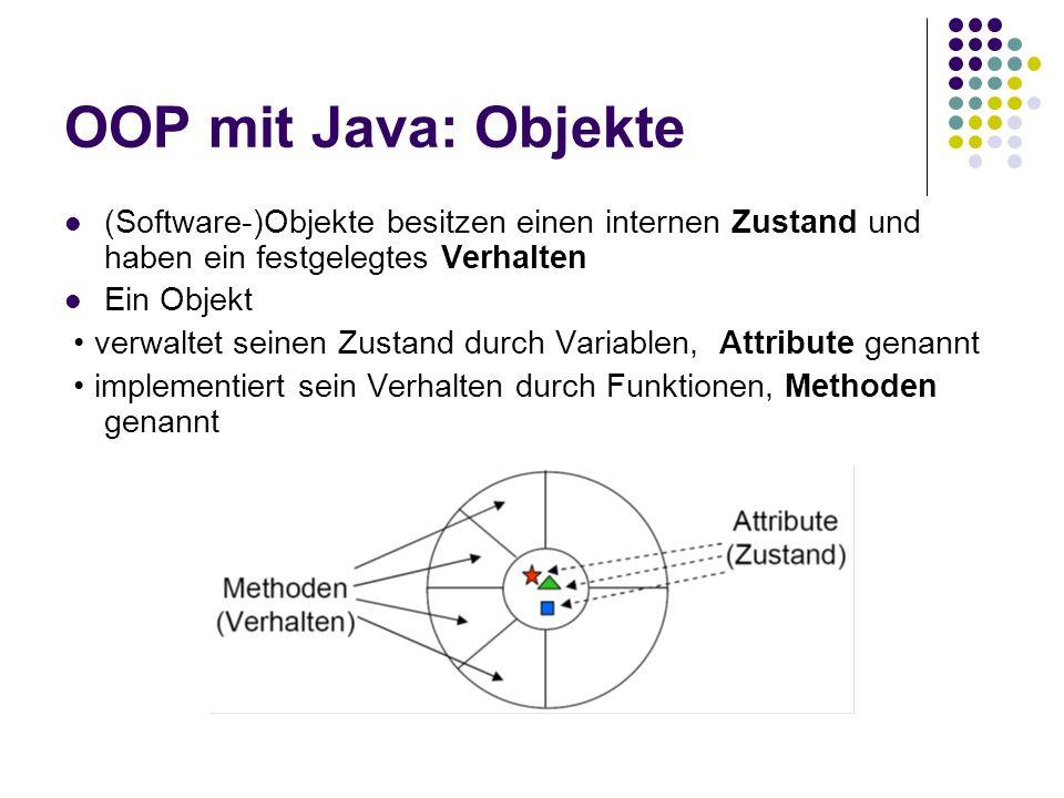 OOP mit Java: Objekte (Software-)Objekte besitzen einen internen Zustand und haben ein festgelegtes Verhalten Ein Objekt verwaltet seinen Zustand durc