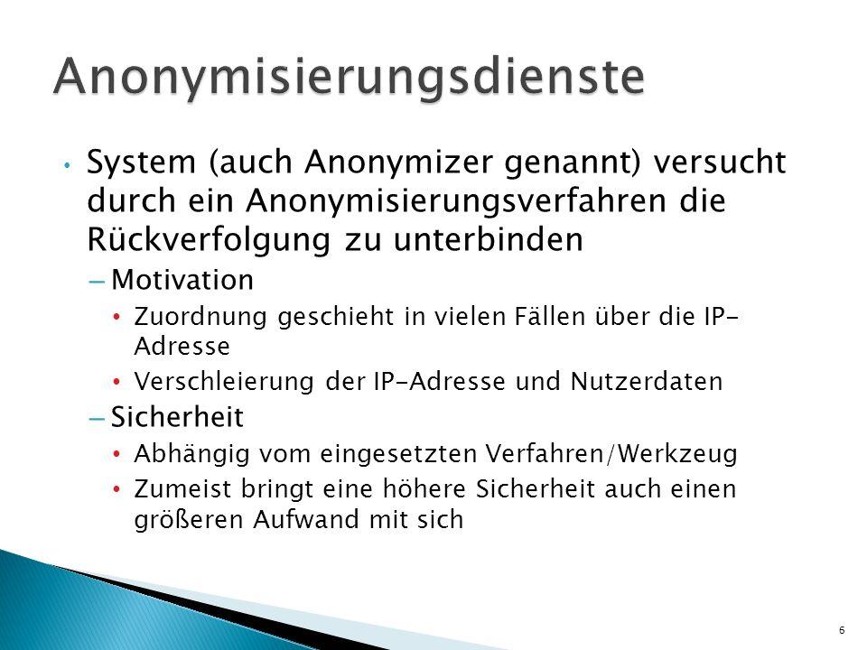 System (auch Anonymizer genannt) versucht durch ein Anonymisierungsverfahren die Rückverfolgung zu unterbinden – Motivation Zuordnung geschieht in vie