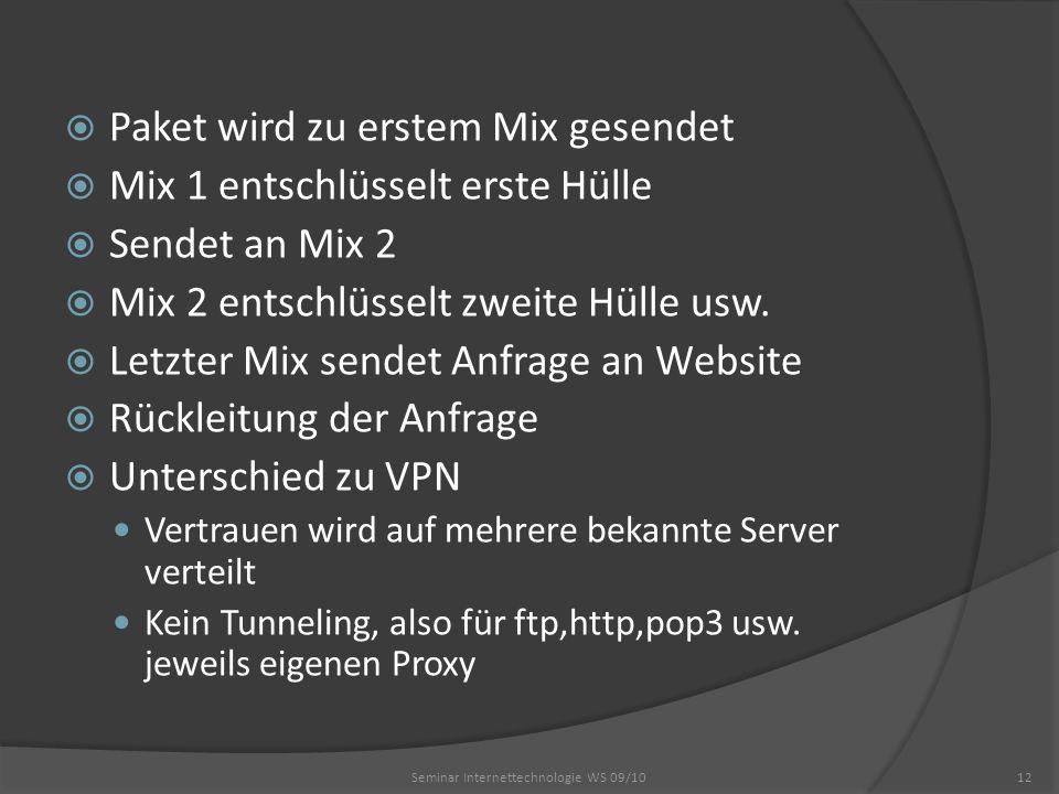 Paket wird zu erstem Mix gesendet Mix 1 entschlüsselt erste Hülle Sendet an Mix 2 Mix 2 entschlüsselt zweite Hülle usw. Letzter Mix sendet Anfrage an
