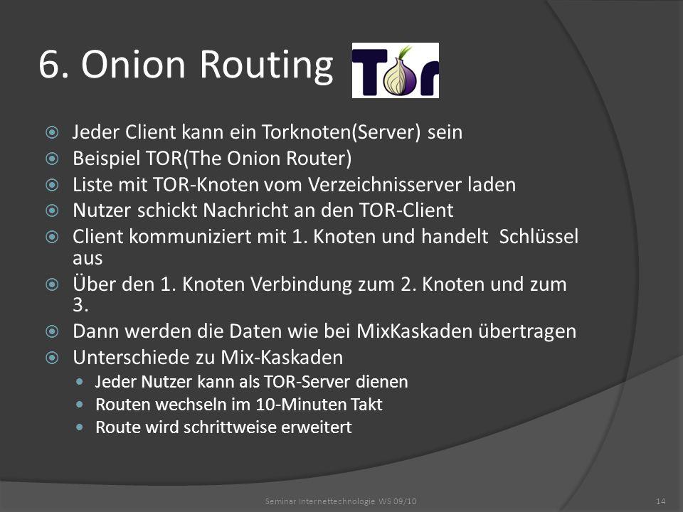 6. Onion Routing Seminar Internettechnologie WS 09/1014 Jeder Client kann ein Torknoten(Server) sein Beispiel TOR(The Onion Router) Liste mit TOR-Knot