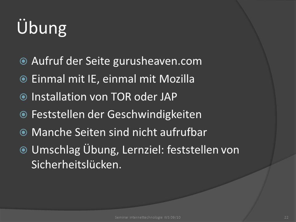 Übung Aufruf der Seite gurusheaven.com Einmal mit IE, einmal mit Mozilla Installation von TOR oder JAP Feststellen der Geschwindigkeiten Manche Seiten sind nicht aufrufbar Umschlag Übung, Lernziel: feststellen von Sicherheitslücken.
