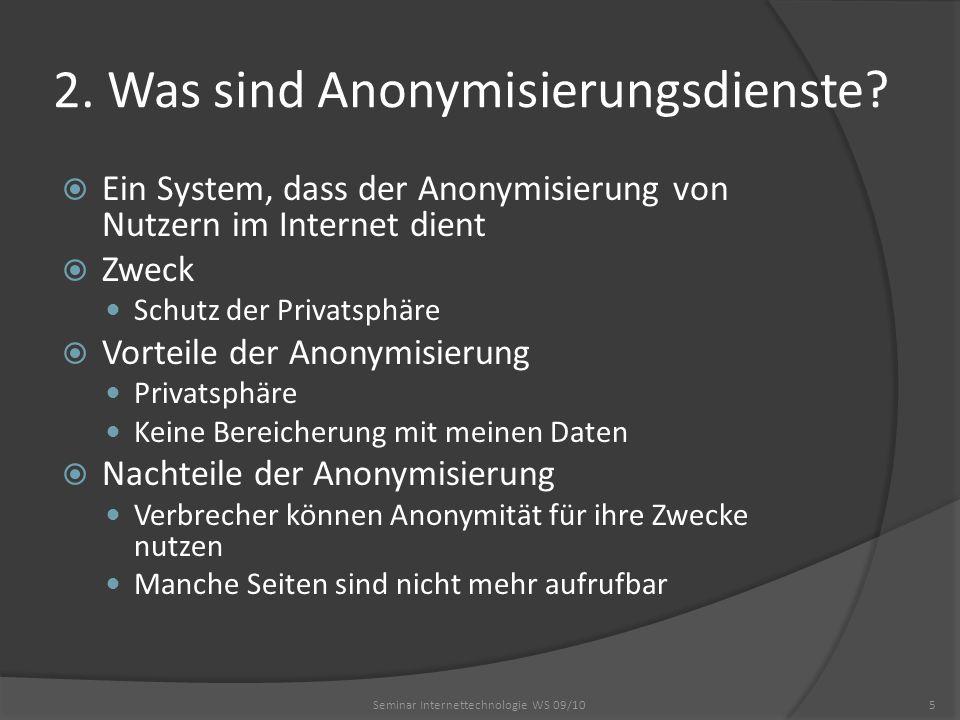 2. Was sind Anonymisierungsdienste? Ein System, dass der Anonymisierung von Nutzern im Internet dient Zweck Schutz der Privatsphäre Vorteile der Anony