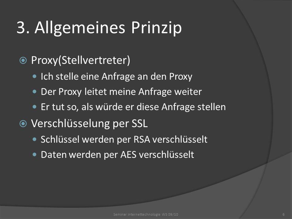 3. Allgemeines Prinzip Proxy(Stellvertreter) Ich stelle eine Anfrage an den Proxy Der Proxy leitet meine Anfrage weiter Er tut so, als würde er diese