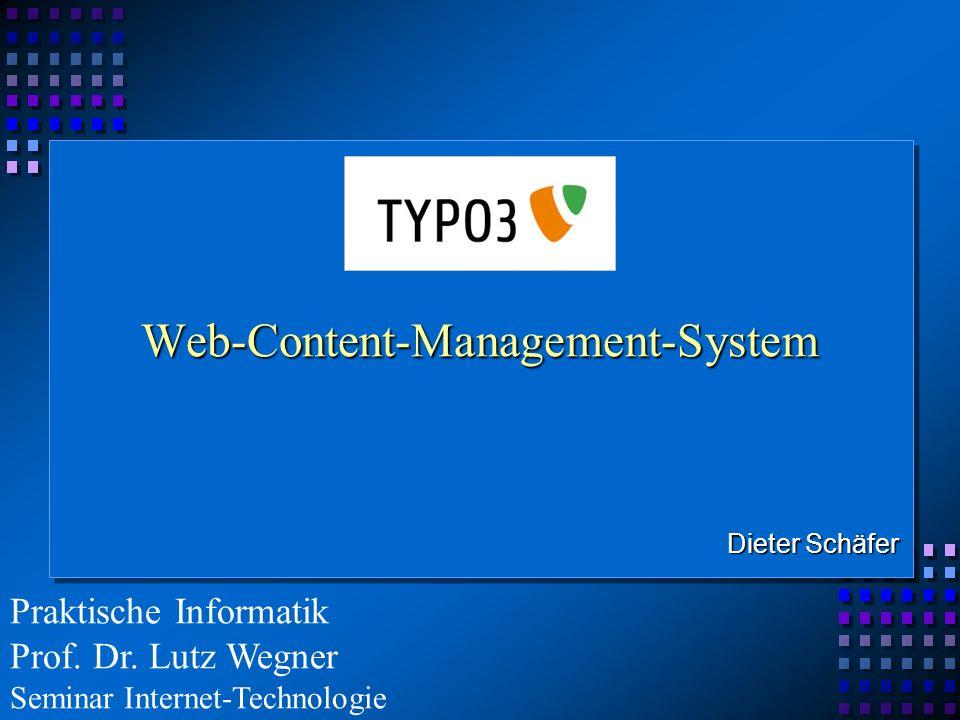Gliederung GeschichteReferenzenWeb-Content-Management-System TYPO3 Eigenschaften und Funktionen Systemaufbau von TYPO3 TypoScript TYPO3 - Installation und Seitenerstellung FazitQuellenangabe 2