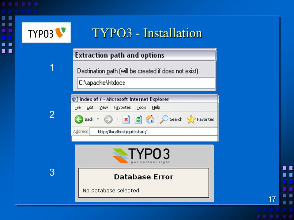 TYPO3 - Installation 17 1 2 3