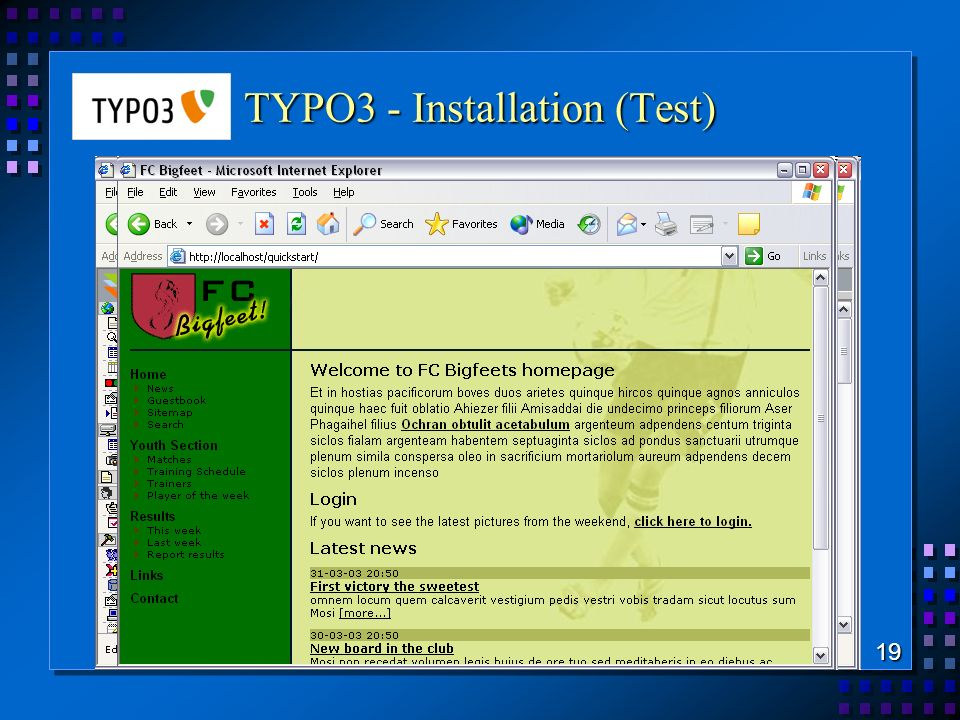 TYPO3 - Installation (Test) 19