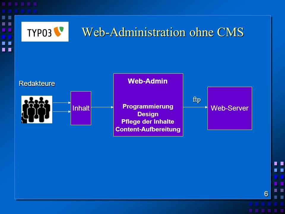 Web-Administration mit CMS 7 Bild-Quelle: http://www.wedel-webdesign.de CMS-Admin Web-Site