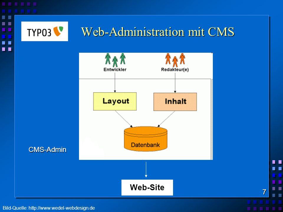 TYPO3 wichtige Funktionen webbasierte Verwaltung von Content Trennung von Inhalt und Layout Templates zur Verknüpfung von Inhalt, Layout und Funktion graphische Benutzeroberfläche (i.d.R.