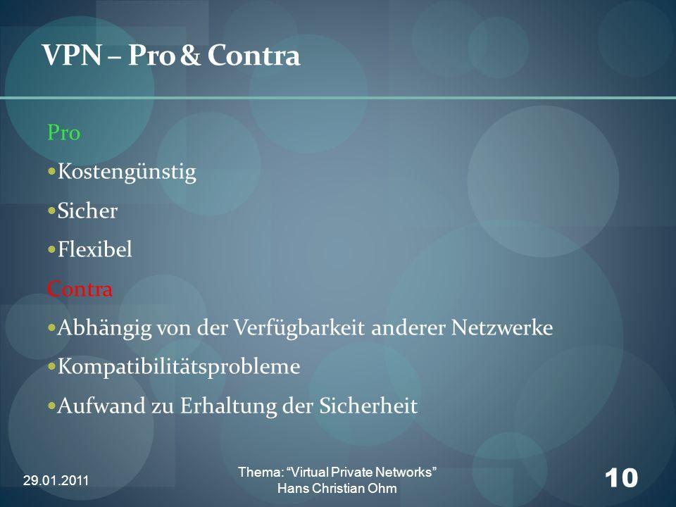 29.01.2011 10 Thema: Virtual Private Networks Hans Christian Ohm VPN – Pro & Contra Pro Kostengünstig Sicher Flexibel Contra Abhängig von der Verfügba