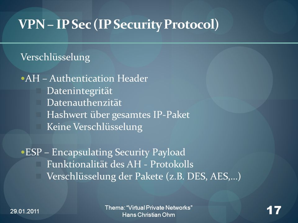 29.01.2011 17 Thema: Virtual Private Networks Hans Christian Ohm VPN – IP Sec (IP Security Protocol) Verschlüsselung AH – Authentication Header Dateni