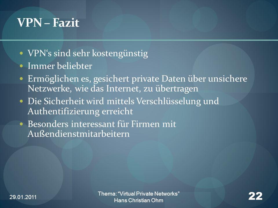 29.01.2011 22 Thema: Virtual Private Networks Hans Christian Ohm VPN – Fazit VPNs sind sehr kostengünstig Immer beliebter Ermöglichen es, gesichert pr