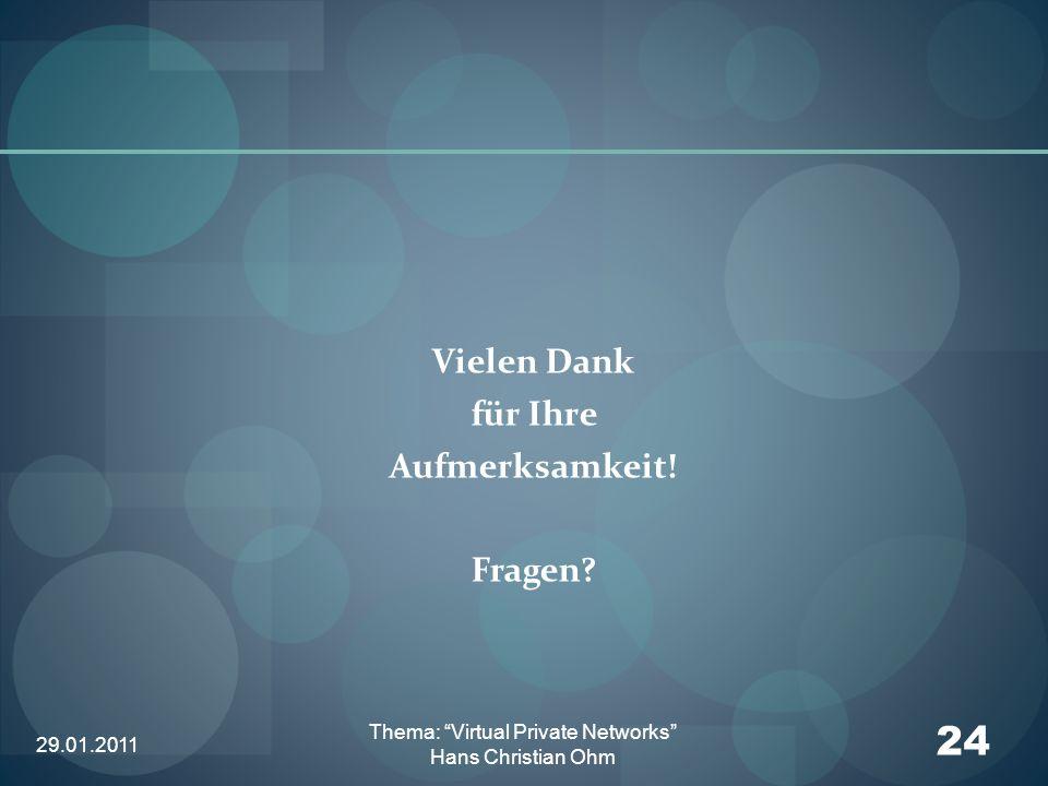 29.01.2011 24 Thema: Virtual Private Networks Hans Christian Ohm Vielen Dank für Ihre Aufmerksamkeit! Fragen?